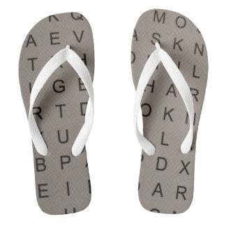 Crossword lover flip flops