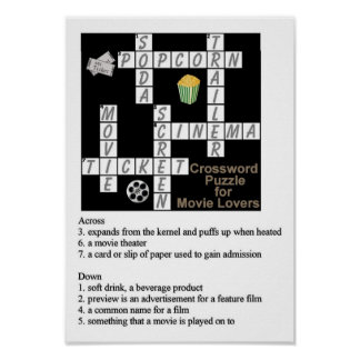 Crossword Puzzle for Movie Lovers Poster