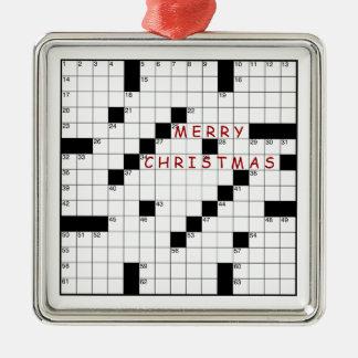 Crossword Puzzle Metal Ornament