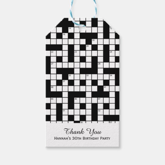 Crossword Puzzle Theme Birthday Gift Tags