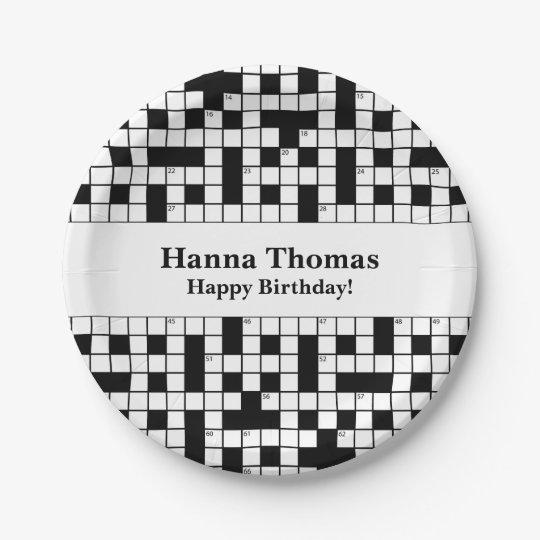 Crossword Puzzle Theme Birthday Paper Plate
