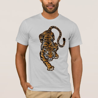 Crouching Tiger gray semi fitted mens tshirt