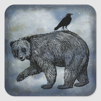Crow And Bear Square Sticker