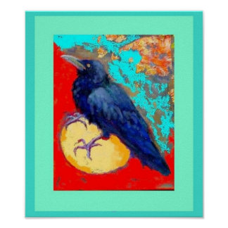 Crow and Egg in Turquoise by Sharles Poster