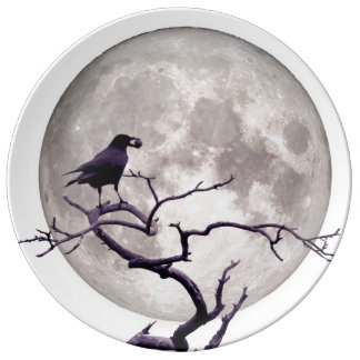 Crow And Moon Raven Fantasy Gothic Night Plate