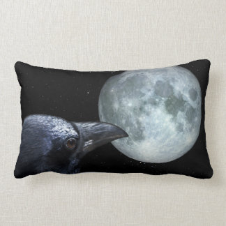 Crow and Moon Raven Night Gothic Fantasy Stunning Lumbar Pillow