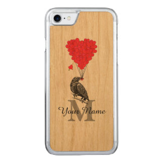 Crow and red heart monogram carved iPhone 7 case