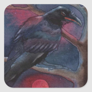Crow and Red Moon Rising Square Sticker