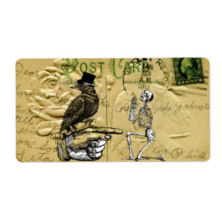 Crow and skeleton shipping label