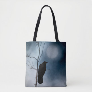 Crow And The Mellow Moon Tote Bag