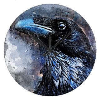 Crow art #crow #bird #animals large clock
