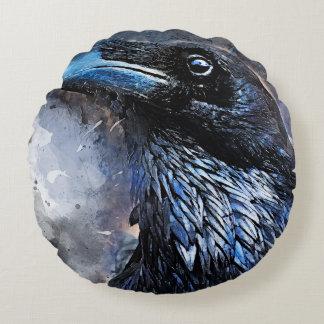 Crow art #crow #bird #animals round pillow