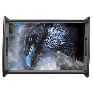 Crow art #crow #bird #animals serving tray
