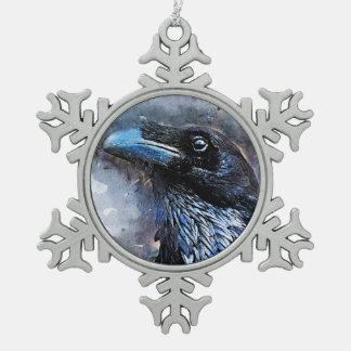 Crow art #crow #bird #animals snowflake pewter christmas ornament
