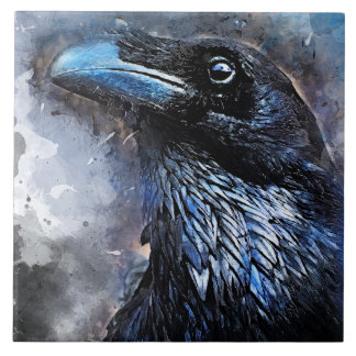 Crow art #crow #bird #animals tile