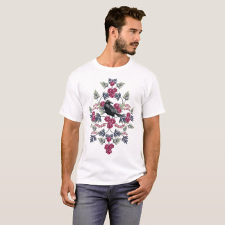 Crow, Bleeding Heart & Roses Floral Pattern T-Shirt