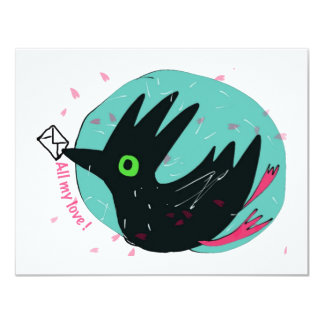 "crow brings a letter 4.25"" x 5.5"" invitation card"