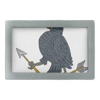 Crow Clutching Broken Arrow Drawing Belt Buckles