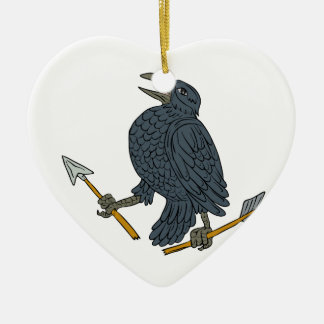 Crow Clutching Broken Arrow Drawing Ceramic Heart Ornament