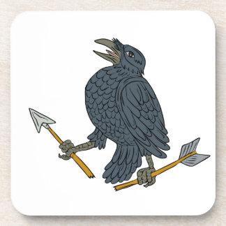 Crow Clutching Broken Arrow Drawing Coaster