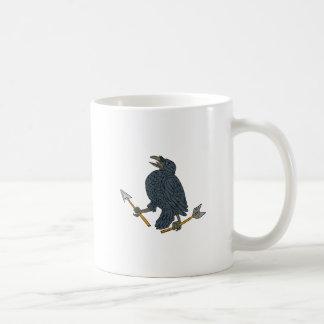 Crow Clutching Broken Arrow Drawing Coffee Mug