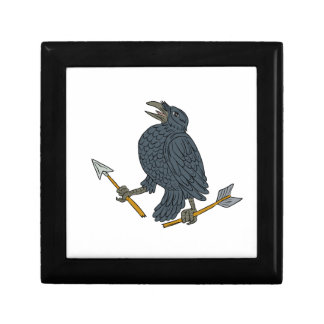 Crow Clutching Broken Arrow Drawing Gift Box