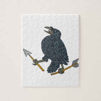 Crow Clutching Broken Arrow Drawing Jigsaw Puzzle