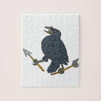 Crow Clutching Broken Arrow Drawing Jigsaw Puzzle