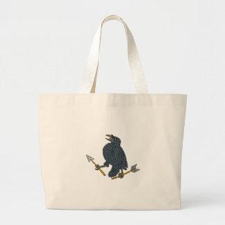 Crow Clutching Broken Arrow Drawing Large Tote Bag