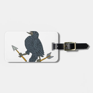 Crow Clutching Broken Arrow Drawing Luggage Tag