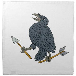 Crow Clutching Broken Arrow Drawing Napkin
