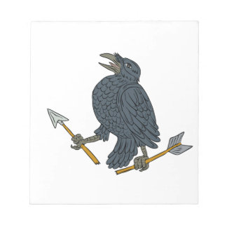 Crow Clutching Broken Arrow Drawing Notepad