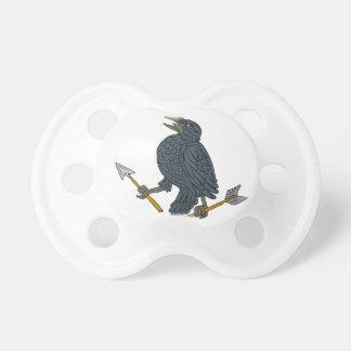 Crow Clutching Broken Arrow Drawing Pacifier