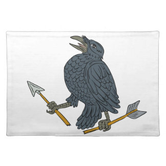Crow Clutching Broken Arrow Drawing Placemat