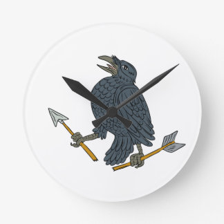Crow Clutching Broken Arrow Drawing Round Clock