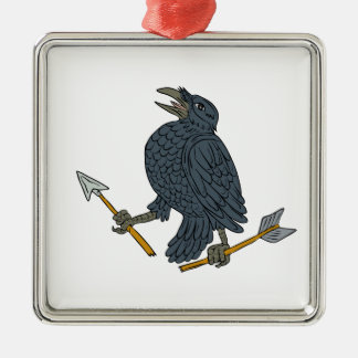Crow Clutching Broken Arrow Drawing Silver-Colored Square Ornament