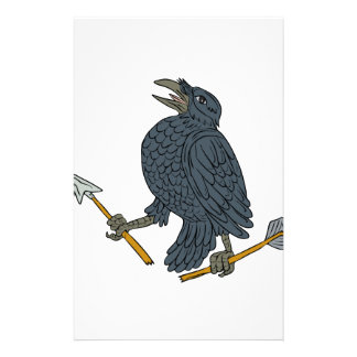 Crow Clutching Broken Arrow Drawing Stationery