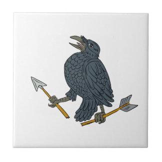 Crow Clutching Broken Arrow Drawing Tile