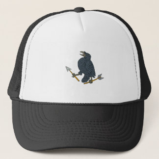Crow Clutching Broken Arrow Drawing Trucker Hat