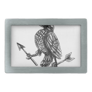 Crow Clutching Broken Arrow Tattoo Belt Buckles