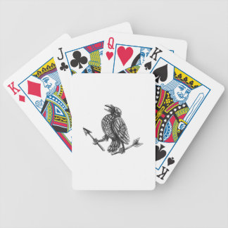 Crow Clutching Broken Arrow Tattoo Bicycle Playing Cards
