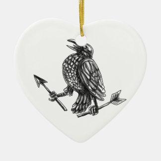 Crow Clutching Broken Arrow Tattoo Ceramic Ornament
