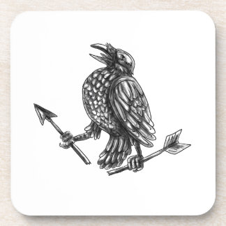 Crow Clutching Broken Arrow Tattoo Coaster