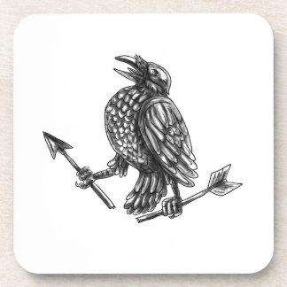 Crow Clutching Broken Arrow Tattoo Coasters