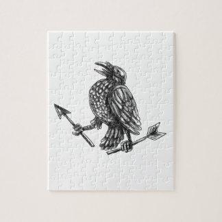 Crow Clutching Broken Arrow Tattoo Jigsaw Puzzle