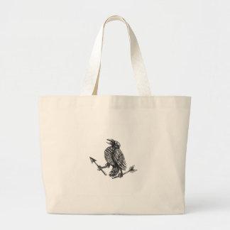 Crow Clutching Broken Arrow Tattoo Large Tote Bag