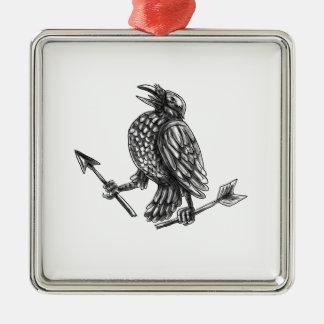 Crow Clutching Broken Arrow Tattoo Metal Ornament