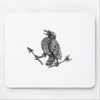 Crow Clutching Broken Arrow Tattoo Mouse Pad