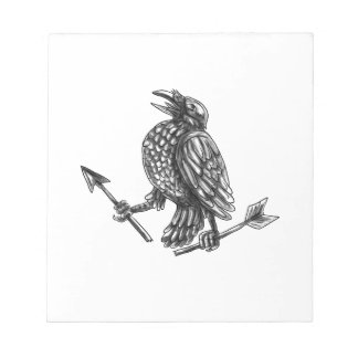 Crow Clutching Broken Arrow Tattoo Notepad