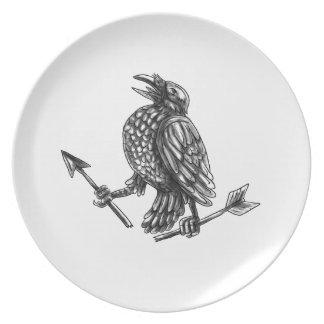 Crow Clutching Broken Arrow Tattoo Plate